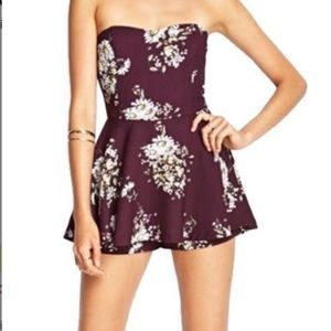 Purple floral romper skirt